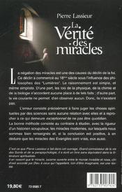 La verite des miracles ; de jesus au padre pio - 4ème de couverture - Format classique