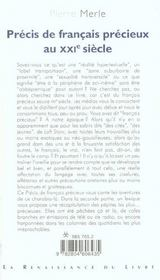 PRECIS DE FRANCAIS PRECIEUX DU XXIème SIECLE - 4ème de couverture - Format classique
