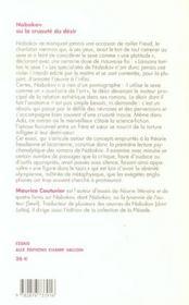 Nabokov Ou La Cruaute Du Desir - 4ème de couverture - Format classique