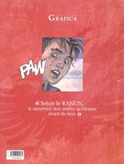 La loi du kanun t.1 ; dette de sang - 4ème de couverture - Format classique