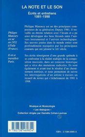 La note et le son ; écrits et entretiens, 1981-1998 - 4ème de couverture - Format classique