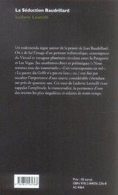 La séduction baudrillard - 4ème de couverture - Format classique
