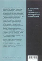 Le personnage théâtral contemporain : décomposition, recomposition - 4ème de couverture - Format classique