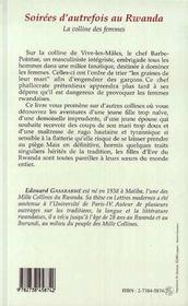 Soirees D'Autrefois Au Rwanda ; La Colline Des Femmes - 4ème de couverture - Format classique