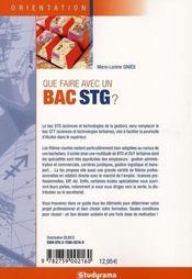 Que faire avec un bac stg ? 6e edition - 4ème de couverture - Format classique