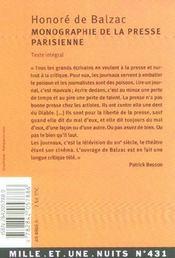 Monographie de la presse parisienne - 4ème de couverture - Format classique