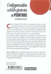 L'Indispensable De La Culture Generale ; La Peinture Des Origines A Nos Jours - 4ème de couverture - Format classique
