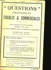Question Prud'Homales Fiscales Et Commerciales - 30eme Annee - N° 273 - Couverture - Format classique