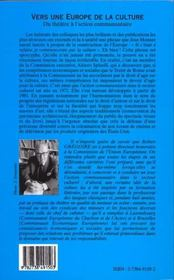 Vers Une Europe De La Culture ; Du Theatre A L'Action Communautaire - 4ème de couverture - Format classique
