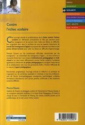 Contre l'échec scolaire ; l'appui pédagogique à enfant en difficulté d'apprentissage - 4ème de couverture - Format classique