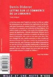 Lettre sur le commerce de la librairie - 4ème de couverture - Format classique