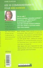 Les 10 Commandements Pour Bien Manger - 4ème de couverture - Format classique