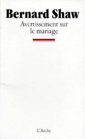 Avertissement sur le mariage - Couverture - Format classique