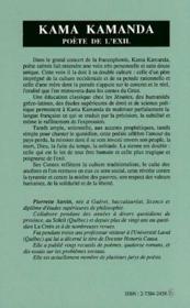 Kama Kamanda, Poete De L'Exil - 4ème de couverture - Format classique