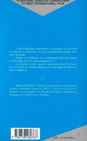 Pluralisme Legislatif Camerounais Et Droit International Prive - 4ème de couverture - Format classique