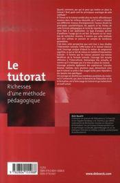 Le tutorat ; richesses d'une méthode pédagogique - 4ème de couverture - Format classique