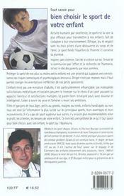 Tout Savoir Pour Bien Choisir Le Sport De Votre Enfant - 4ème de couverture - Format classique