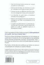 Guide Operationnel De La Qualite - Faut-Il Tuer Laqualite Totale ? - 4ème de couverture - Format classique
