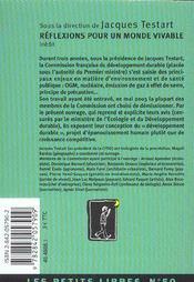 Reflexions Pour Un Monde Vivable - 4ème de couverture - Format classique