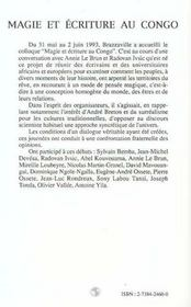 Magie Et Ecriture Au Congo - 4ème de couverture - Format classique