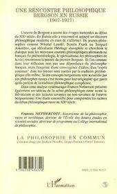 Une rencontre philosophique ; Bergson en Russie (1907-1917) - 4ème de couverture - Format classique
