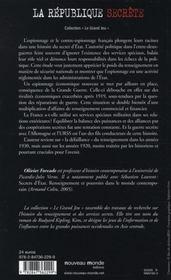 La Republique secrete - 4ème de couverture - Format classique
