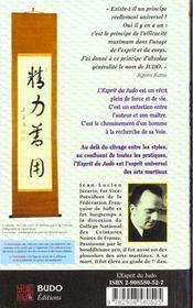 L'Esprit Du Judo - 4ème de couverture - Format classique