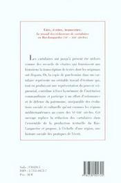 Lire Ecrire Transcrire ; Le Travail Des Redacteurs De Cartulaires En Bas-Languedoc - 4ème de couverture - Format classique