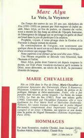 Marc Alyn ; La Voix, La Voyance - 4ème de couverture - Format classique
