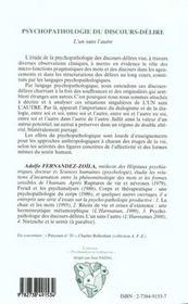 Psychopathologie Du Discours-Delire ; L'Un Sans L'Autre - 4ème de couverture - Format classique