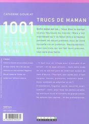 1001 Trucs De Maman De 1 Jour A 1 An - 4ème de couverture - Format classique