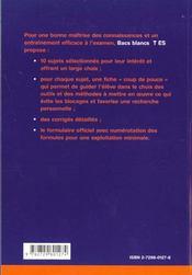 Bacs Blancs De Mathematiques Terminale Es Tout Le Programme De L'Annee En 30 Exercices Et 10 Pbs - 4ème de couverture - Format classique