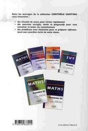 Controle Continu ; Enseignement Scientifique ; 1ère Es (2e Edition) - 4ème de couverture - Format classique