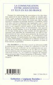 Communication Entre Associations Et Elus En Ile De Fra - 4ème de couverture - Format classique