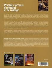 Procedes Speciaux De Soudage Et De Coupage - 4ème de couverture - Format classique