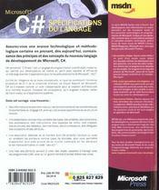 C Dièse. spécifications du langage - 4ème de couverture - Format classique