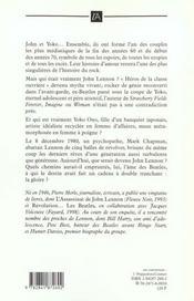 John Lennon ; La Ballade Inachevee - 4ème de couverture - Format classique