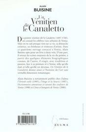Un Venitien Dit Le Canaletto - 4ème de couverture - Format classique
