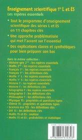 Enseignement scientifique ; les repères essentiels ; 1ère L/1ère ES - 4ème de couverture - Format classique