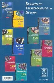 Management des organisations ; STG, 1ere année ; manuel de l'élève - 4ème de couverture - Format classique