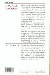 La Science Dans L'Art - 4ème de couverture - Format classique