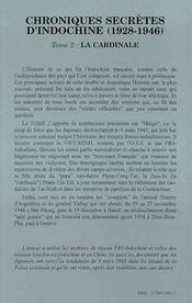 Chroniques secrètes d'Indochine (1928-1946) t.2 ; la cardinale - 4ème de couverture - Format classique