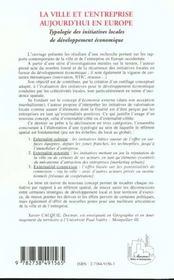 La Ville Et L'Entreprise Aujourd'Hui En Europe ; Typologie Des Initiatives Locales De Developpement Economique - 4ème de couverture - Format classique
