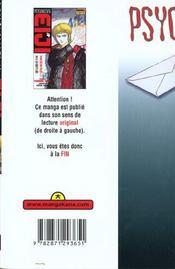 Psychometrer eiji t.4 - 4ème de couverture - Format classique