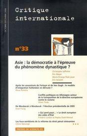 Revue Critique Internationale N.33 ; Asie : La Démocratie A L'Epreuve Du Phénomène Dynastique ? (Edition Octobre-Décembre 2006) - Intérieur - Format classique