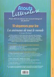 10 séquences pour lire ; les animaux de tout le monde ; cycle 3, niveau 2 - 4ème de couverture - Format classique