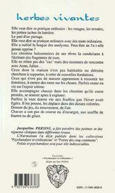 Herbes Vivantes ; Espace Analytique Et Poesie - 4ème de couverture - Format classique