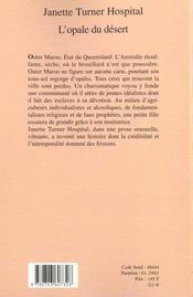 L'opale du desert - 4ème de couverture - Format classique