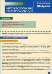 Histoire-géographie, éducation civique ; brevet des collèges - Couverture - Format classique