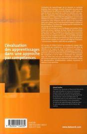 L'évaluation des apprentissages dans une approche par compétences - 4ème de couverture - Format classique